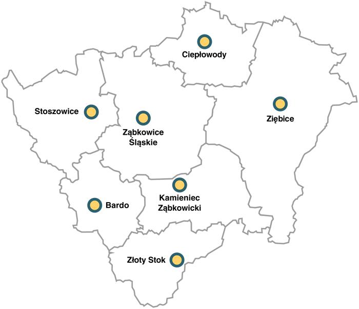 Mapa powiatu ząbkowickiego